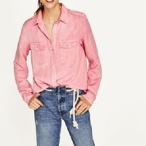 NWT Zara military style button down shirt